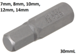 Int. Hex. Bit 7 mm, 30 mm lang, 5/16 drive