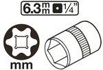 Douille pour cle, profil E 6,3 mm (1/4) E4
