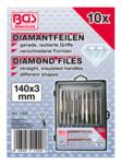 Jeu de limes diamantees droites 140 x 3 mm 10 pieces