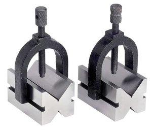 Paire de blocs en v diametro 42 mm - etriers de serrage reglables