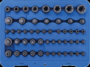 Jeu dembouts et de douilles Profil E/T (pour Torx)/Profil T (pour Torx) avec percage/Profil TP (pour Torx Plus) 52 pieces