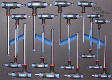 Tournevis avec poignees en T et lame laterale sorties six pans interieurs, profil T (pour Torx) 18 pieces