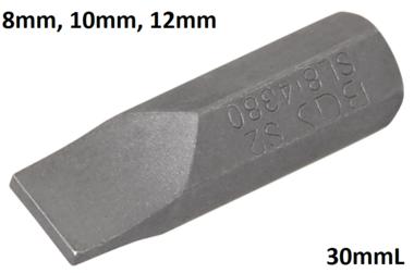 Embout plat 8 mm, 30 mm long, 5/16