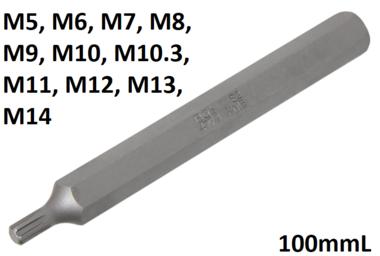 Douilles a embouts longueur 100mmL (3/8) profil cannele (pour RIBE)