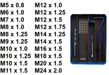 Kit de reparation de filets  M5 x 0,8 - 29 pieces
