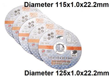 Ensemble de disque de coupe 5 pieces pour acier inoxydable 115 x 1,0 x 22,2 mm