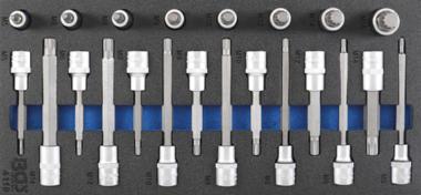 Porte-outils 1/3: Jeu de douilles de 12,5 mm (1/2 pouce) Spline (pour XZN) 22 pcs.