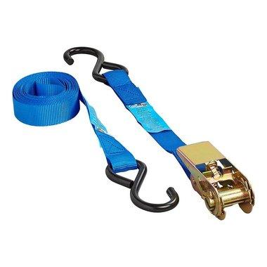 Sangle d'arrimage bleu avec tendeur a cliquet + 2 crochets 3,5 metres