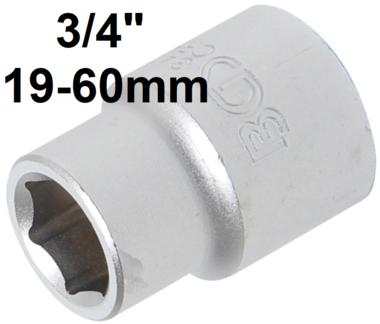 3/4 Douille courte 6 pans, 19 mm