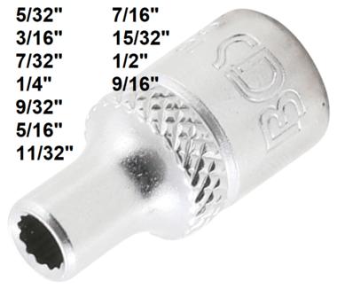 Douille pour cle, douze pans 6,3 mm (1/4) 5/32