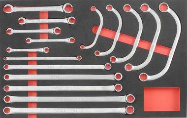 Module mousse de 16 cles polygonales demi lune & cles tuyauter