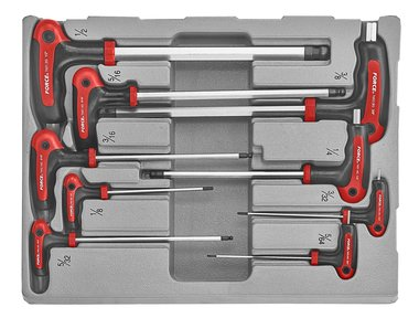Module de 9 clés hexagonales tête sphérique poignée en T en pouche