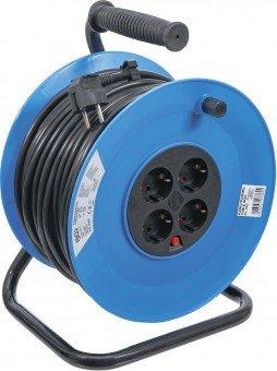 Enrouleur de cable 50 m 3x1,5 mm² 4 prises de courant IP 20 3000 W
