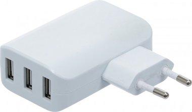Chargeur USB universel 3 ports USB total maxi. 3,4 A, maxi. 2,4 A / USB 110 - 240 V