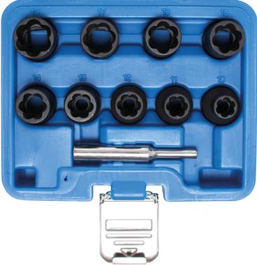 Jeu de douilles spiralees/extracteur de vis (1/2) 10 - 19mm 10 pieces