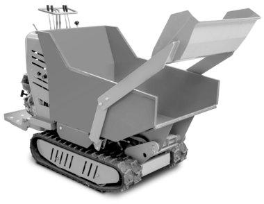 Mini-benne hydrostatique sur chenilles avec caisse de chargement 500kg