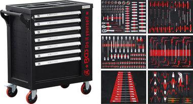 Servante d'atelier 7 tiroirs, 1 porte laterale avec 250 outils