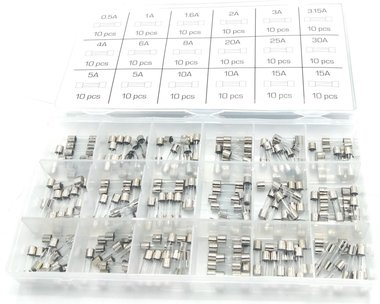 Assortiment de fusibles en verre a action rapide 0,5A- 15A 180 pieces