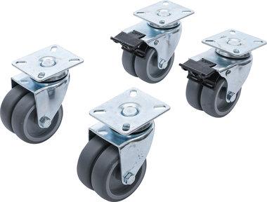 Jeu de roulettes doubles de direction pour fauteuils de plage Ø 75 mm 4 pieces