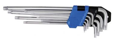 Jeu de cles coudees extra longues Profil T (pour Torx) T10 - T50 9 pieces