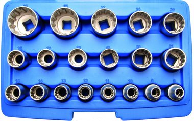 Jeu de douilles Gear Lock 12,5 mm (1/2) 19 pieces