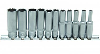 Ensemble Deep Socket 11 pieces, 12-pt, 1/4