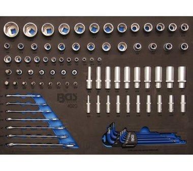 3/3 Bac outils pour chariots d'atelier: douilles 90 pieces et cle combinee