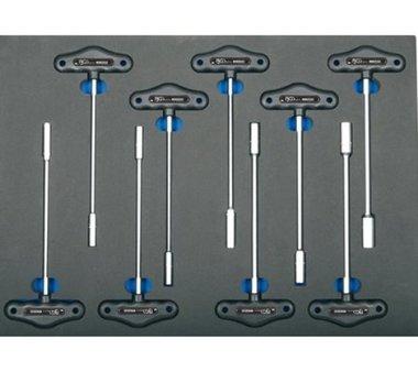 3/3 Bac d'outils pour les chariots d'atelier: cle douille T-Handle 9 pieces