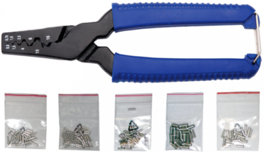 Outil de sertissage pour manchons de câbles, incl. 150 manches