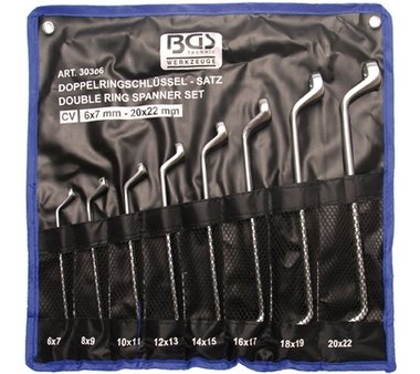 8-piece Double Ring Spanner Set, deep offset ends