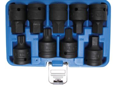 Jeu de douilles embouts choc transmission par six pans interieurs 20 mm (3/4) denture multiple interieure (pour XZN) 9 pieces