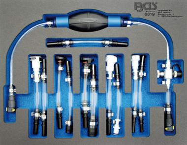 Kit de purge avec pompe d'amorcage basse pression diesel pour Ford, PSA, Opel, Fiat, Rover, Land Rover, Renault, Mercedes-Benz 7 pieces