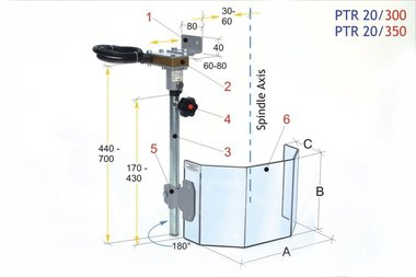 Ecrans de protection pour grandes perceuses PTR 20/350 LINKS, 4,20kg