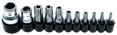 Jeu dembouts 10 mm (1/4) / 10 mm (3/8) profil T (pour Torx) avec percage 11 pieces