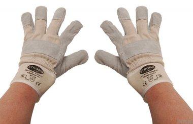 Gants de travail cuir, rembourres taille 10,5