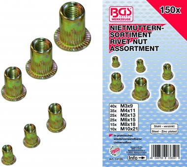 150 pieces Ecrou de rivets Assortiment en acier galvanise