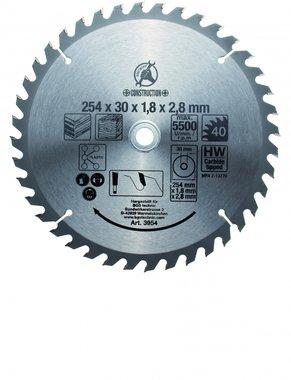 Lame de scie circulaire carbure, diametre 254 mm, dent 40