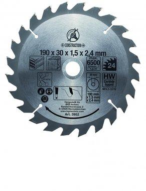 Lame de scie circulaire carbure, diametre 190 mm, 24 dents