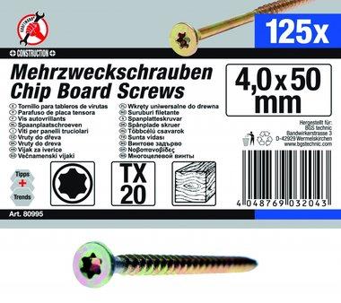Vis multi-usages, 4,0 x 50 mm, T20, 125 pièces