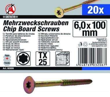 Vis multi-usages, 6,0 x 100 mm, T25, 20 pièces