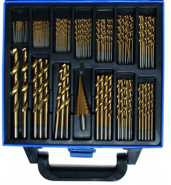 119 pieces Twist & Step Drill Set HSS Titanium Coated, 1-10 mm