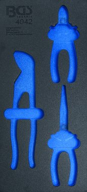 03/01 Bac outils (408x189x32 mm), vide 3 pieces Pinces Set