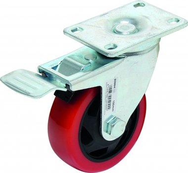 Castor avec frein, rouge / noir, 100 mm