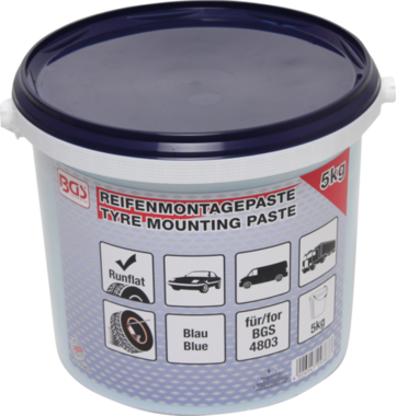 Reifenmontagepaste, bleu pour les pneus de roulage à plat, seau de 5 kg