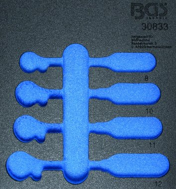 1/6 Plateau d'outils pour chariot d'atelier, vide: Cle cliquet 4 pieces