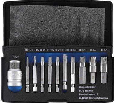 Ensemble d'extracteurs a vis 11 pieces pour T-Star (pour Torx) T10-T55