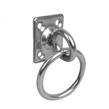 Pontet sur platine a anneau et emerillon, 33x38x6mm, RVS AISI 316, 4 trous