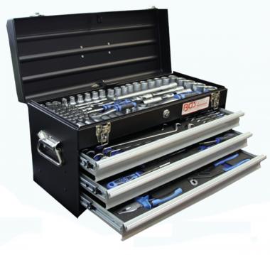 Boîte à outils en métal | 3 tiroirs | avec 143 outils