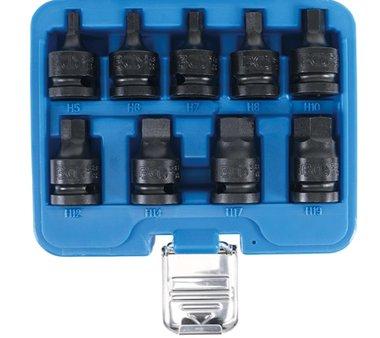 Ensemble de prise de bits impact 12,5 mm (1/2 ) hexagone interne 5 - 19 mm 9 pieces
