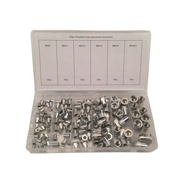 Assortiment d'ecrous sertir Aluminium 150 pcs
